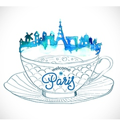 Paris skyline watercolor background vector image