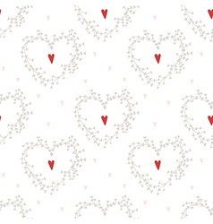 seamless pattern with hearts and wreathes vector image