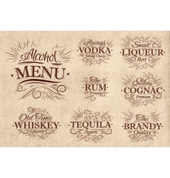 Set alcohol menu retro vector image vector image