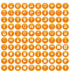 100 spring holidays icons set orange vector
