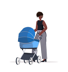African american mother walking with newborn baby vector
