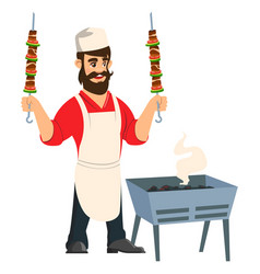 Arabi chef with kebab hands emblem avatar vector