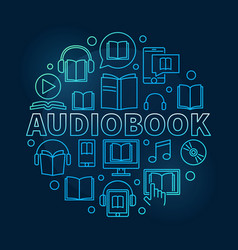 Audio book round colorful vector