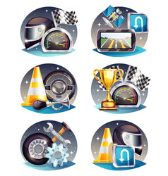 Auto racing compositions set vector