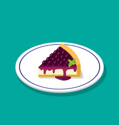 Blueberry cheese cake in 3d cartoon style vector