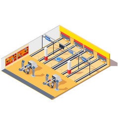 bowling club isometric interior design vector image