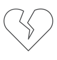 broken heart thin line icon valentine and vector image