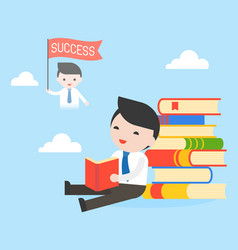 businessman sit at stack of books read a book and vector image