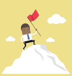 businessman standing with red flag on mountain vector image