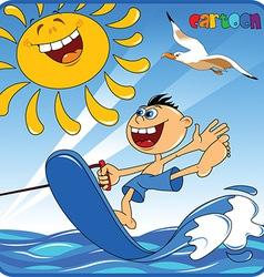 Cartoon boy water skiiing vector image