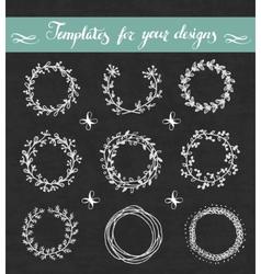 chalkboard set floral wreathes vector image
