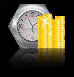 Clock with money coin vector image