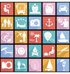 Collection flat icons with long shadow Travel vector image
