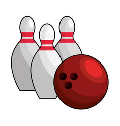 color bowling pin ball icon vector image