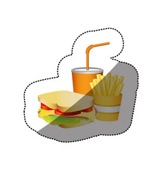 Color sandwich fries french and soda food vector