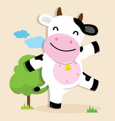 Cow cute character cartoon design vector