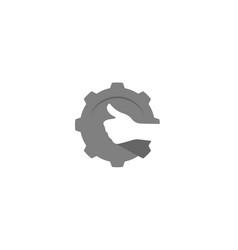 Creative gear thumb hand logo design vector