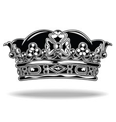crown black and white king queen 111 vector image