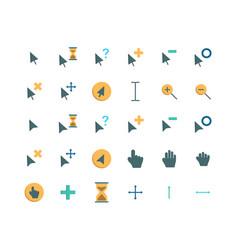 cursor flat icon set vector image