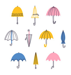 cute cartoon umbrellas set vector image