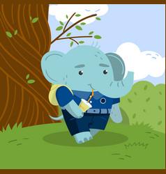 Cute little elephant student in school uniform vector