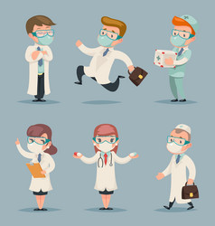 different doctors positions and actions character vector image