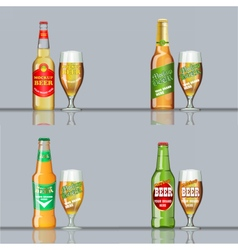 Digital beer set mockup vector image