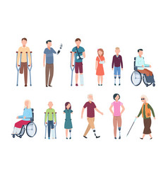 Disabled persons diverse injured people in vector