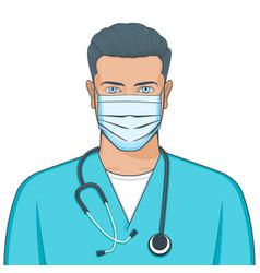 Doctor wearing medical mask vector