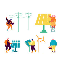Eco-friendly and traditional technologies set vector