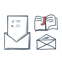 Envelope and book with bookmark icons set vector