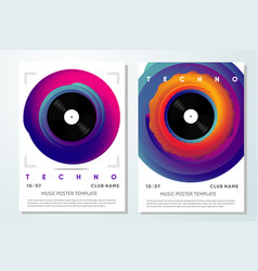 Event poster for music festival vinyl record vector
