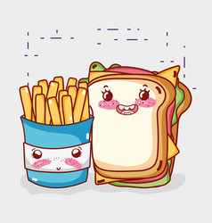 fast food cute french fries and sandwich cartoon vector image