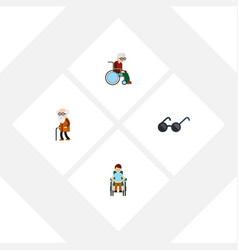 Flat icon disabled set wheelchair ancestor vector
