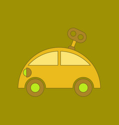 Flat icon on background kids toy car with key vector