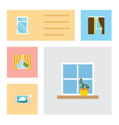 Flat icon window set of flowerpot clean cloud vector