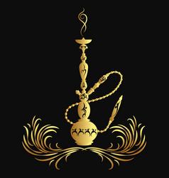 golden hookah silhouette vector image