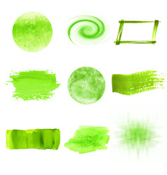 Green watercolor logo design template spots set vector