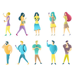 group of people using mobile phones vector image