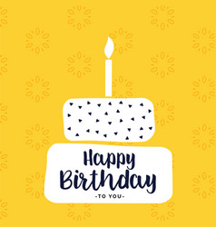 Happy bithday card design with flat white cake vector
