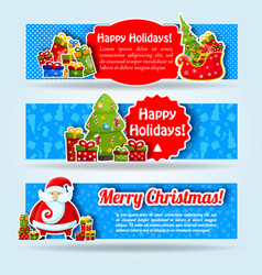 happy new year blue banner set vector image
