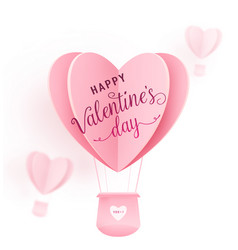 happy valentines day design with paper cut vector image