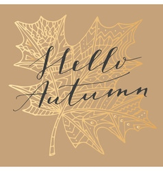 Hello autumn card vector