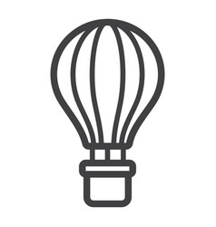 Hot air balloon line icon transport and air vector
