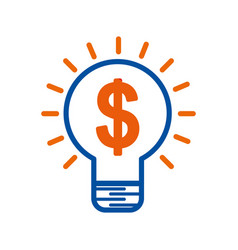 idea bulb with dollar money creative symbol vector image