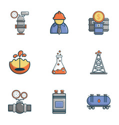 industry icons set cartoon style vector image vector image