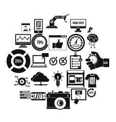 intelligence icons set simple style vector image
