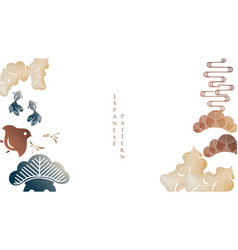 japanese hand drawn wave background with asian vector image