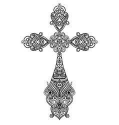 jewelry antique christian crosses decorated with vector image
