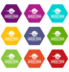 Jurassic period icons set 9 vector